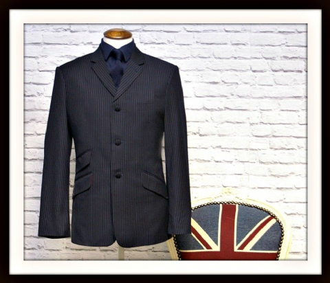 """James"" Dark Navy & White Pinstripe 3 Piece Suit"